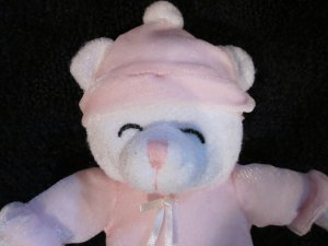 Goffa Plush White Teddy Bear Lovey in Pink outfit