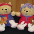 Hallmark Bears Dressed in thermal PJs and Bunny Slippers