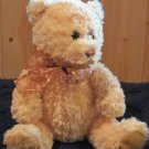 Ty Classic Plush yellow gold Bear with copper polka dot ribbon