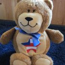 Kids II Praying Brown Patriotic Bear with Star flag and blue bow