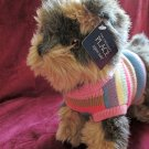 The Children's Place Plush Terrier Puppy dog wearing a Striped Sweater