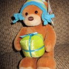"Gund Brown Teddy Bear with Fleece Hat 8"" Holding a present"