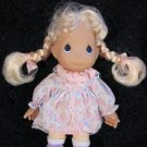"1998 Precious Moments Plush 7"" Doll Blonde Braids Print dress"
