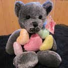 Plush Grey Teddy Bear Holding Five colorful Hearts by Kids Of America
