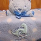 baby Carters Blue Teddy Bear Security Blanket Lovey with Dinosaur and play with me