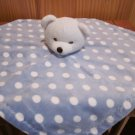 BeanSprout White Teddy Bear Blue security blanket with white dots
