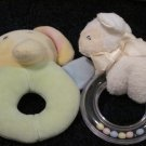 Two Baby Rattle Toys One Plush Elephant One #58476 Jesus Loves Me Ring Rattle Lamb by Gund