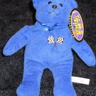 Toy Max Collection Blue Plush Bear with racing flags and the #88 on it