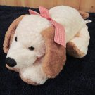 1999 Mary Meyer Cream colored Puppy dog with red Checkered Bow