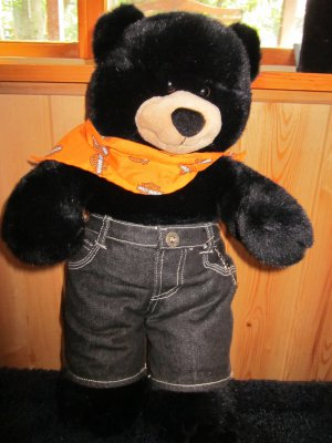 Build A Bear Black Plush Harley Davidson Bear Super soft
