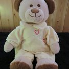 Amsterdam Tan Teddy Bear Brown nose and eyes and yellow suit with red hearts