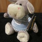 KellyToy grey Plush Donkey in Blue shirt
