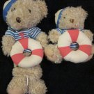 Lullaby Club Two Plush Sailor Bear one musical crib toy one sitting bear