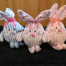 Three Minky Soft egg Shaped Bunny Rabbits by Commonwealth