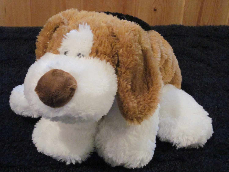 Mary Meyer Plush Puppy Dog Tan, white and black Floppy pillow