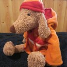 Bath & Body Works Tan Puppy Dog named Barker Wears a fleece jacket with Hood