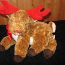 Ty Beanie Buddy Reindeer Named Roxie with Red horns and nose