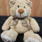 Goffa Int'l Plush Tan Bear with plaid bow