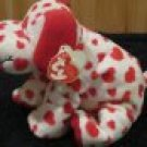 Ty Pluffies White Dog with Red hearts Plush Toy Puppy named Sweetly with heart tag