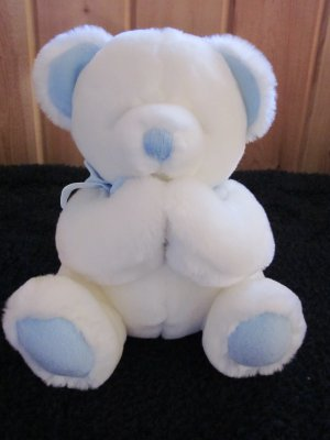 Russ Berrie Pray With Me White Plush Praying Bear