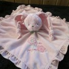 Carters Pink Rabbit Security Blanket Plush Rattle Little Princess Flowers