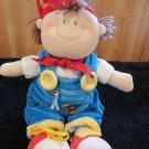 Russ Berrie Plush Boy Doll in blue overalls and red cap