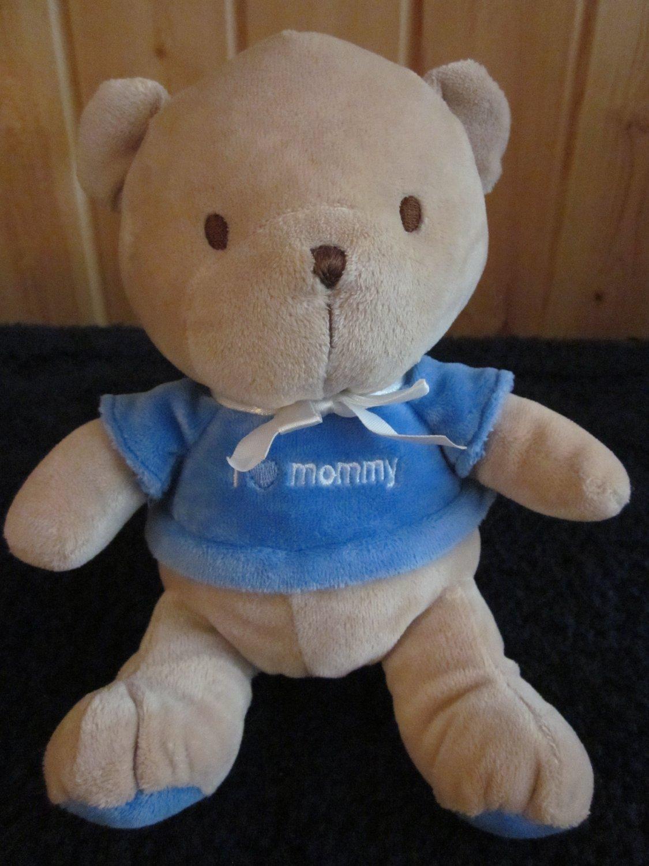Carters Tan Teddy Bear Blue Shirt With I Heart Mommy