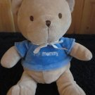 Carters Tan Teddy Bear blue shirt with I (heart) mommy Plush Rattle Toy 8813