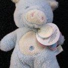 Aurora Baby Fleecy Friends Blue Pig Soft Rattle Toy