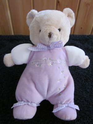 Carters Plush Tan Bear Lavender outfit with flowers Plush Rattle toy