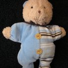 Carters Plush Rattle Bear Doll Blue Brown Soft Smily Friends collection