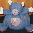 Gagou Tagou Plush Denim Bear named Tag with stripes and gold stitching