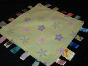 Taggies Little Taggie Security Blanket Green Purple flowers