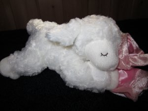 Gund Baby Winky Praying White Lamb holding a pink security Blanket 319894