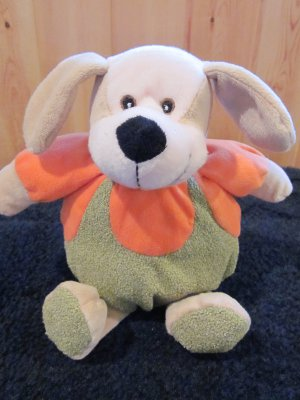 Puli International Plush Tan Dog dressed in Orange and Green