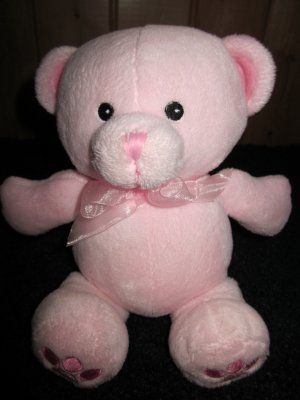 Fiesta Pink Teddy Bear Plush Rattle Toy