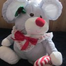 Vintage Fisher Price 1987 Puffalumps Christmas Mouse Grey holding a candy cane