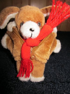 Vintage Avon Plush Brown 5&quot; Mini Puppy Dog with Fur Jacket and scarf
