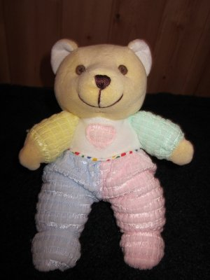 Kids of America Tan Bear Plush Rattle Pastel colors