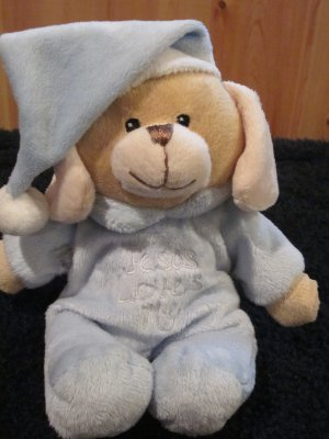 DanDee Collectors choice tan puppy Dog in blue Pj's Jesus Loves Me 2009