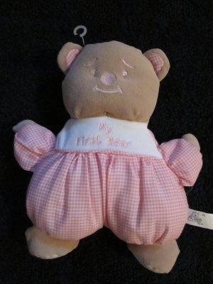 Snuggie or Snuggle Toy My First Bear Tan with pink gingham outfit Plush Rattle