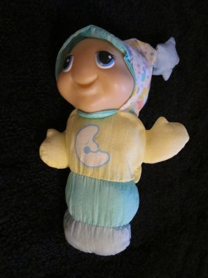 1998 Hasbro Playskool Plush Gloworm Pastel Stars Lights up #5770