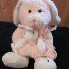 Mary Meyer Pink Plush Bunny Rabbit with bunny slippers and Holding bunny security blanket