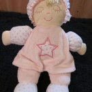 Plush Doll in Pink and White and pink dots Sleeping eyes closed