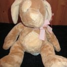 Russ Berrie Tan and Creme Plush Puppy Dog Pink bow named Mocha Rattle Lovey