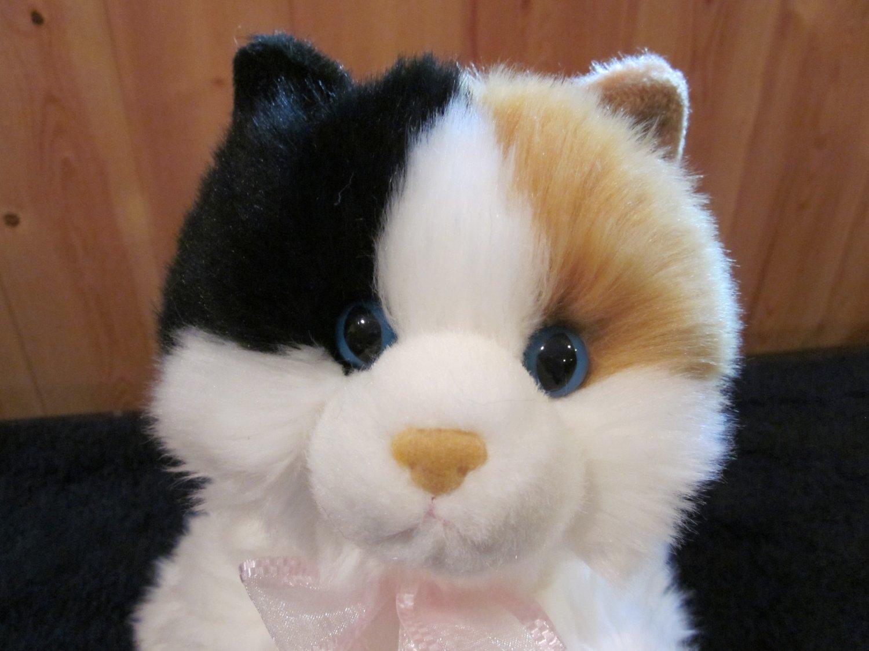 Aurora Calico Cat Blue Eyes Fluffy Plush Floppy Laying