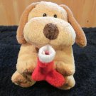 Retired Ty Pluffies Plush Tan Dog with Brown ears Named Goodies holding stocking
