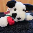 Russ Berrie Plush white Dog with spots named Bolero holding a rose in mouth