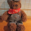 Gund Plush Lionel Train Conductor Bear Overalls and Cap red Scarf