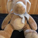 Russ Berrie Tan and Creme Plush Puppy Dog in blue bow named Mocha Rattle Lovey